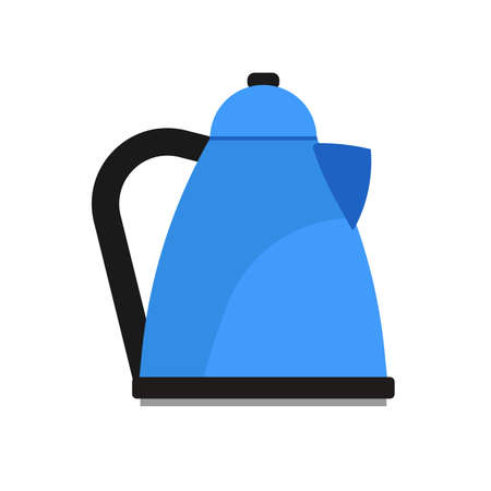 Electric kettle appliance illustration domestic vector icon. Kitchen handle boil teapot water isolated white. Utensil equipment