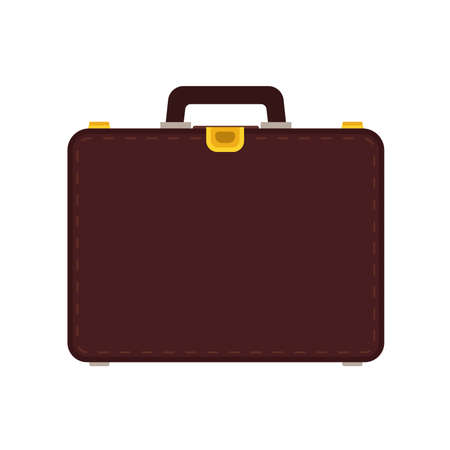Briefcase business vector icon bag. Isolated case luggage businessman. Suitcase handle portfolio office brown flat equipment