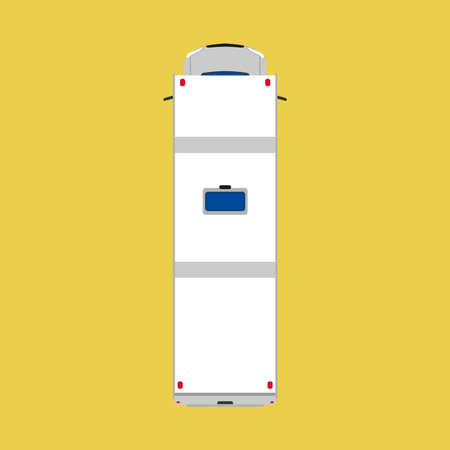 Camper van top view car illustration. Vacation vehicle travel summer bus. Caravan transport truck white. Cartoon flat family wagon Çizim