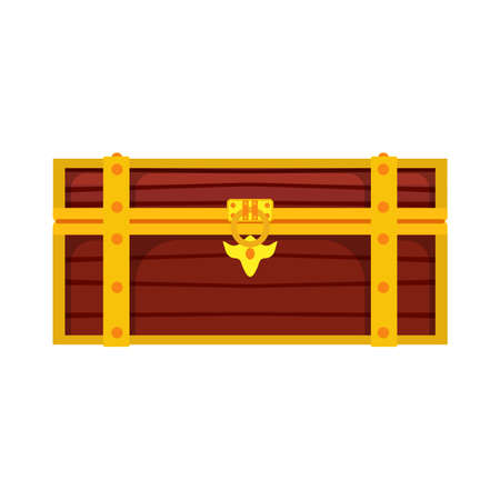 Chest box treasure illustration isolated vector icon. Gold wealth wooden lock brown pirate money. Trunk game cartoon fortune
