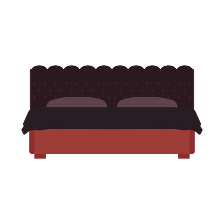 Bed front view vector bedroom cartoon furniture home. Sleep interior hotel rest. Flat duvet simple flat apartment