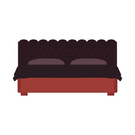 Bed front view vector bedroom cartoon furniture home. Sleep interior hotel rest. Flat duvet simple flat apartment
