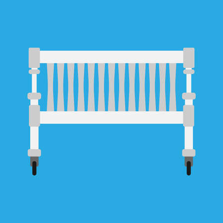 Baby cradle vector icon newbord. Child bed care cartoon cute white symbol. Toddler sleep pushchair carriage furniture