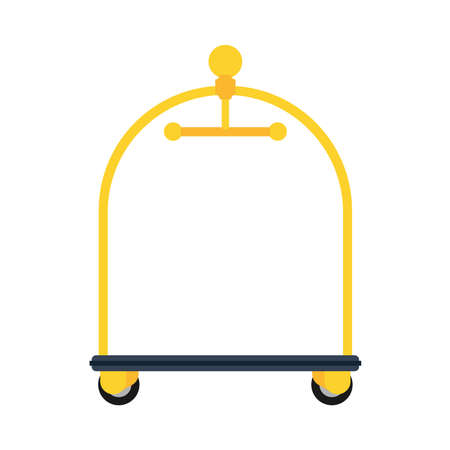 Hotel cart golden vector icon service luggage reception bag. Travel room motel business hanger. Staff case furniture