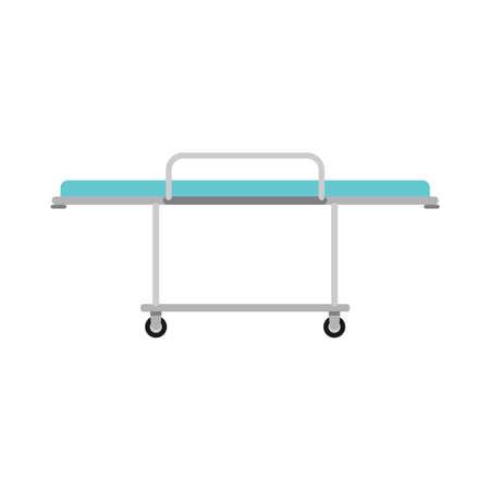 Hospital stretcher trolley bed vector icon. Clinic gurney ambulance equipment. Flat sick wheel cartoon transport