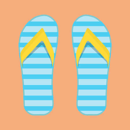 Flip flop beach holiday sandal foot vector icon top view. Fashion shoe pair set travel. Sea pattern accessory stripe Çizim