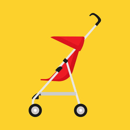Pram child red carriage vector icon side view. Baby childhood buggy stroller. Toddler wheel flat transportation mom