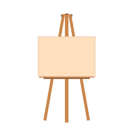 Easel art illustration vector flat icon. Artist canvas blank frame board. Paint stand wooden equipment tripod front view cartoon