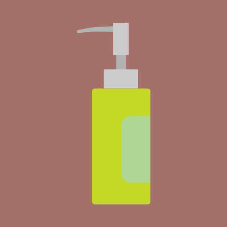Perfume bottle care cosmetics liquid container vector icon flat. Closeup retro aromatic women green glass sign