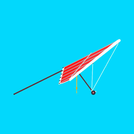 Hang glider sport extreme vector icon side view. Sky adventure hobby para skydiving. Cartoon red plane ascend