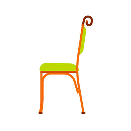 Classic chair green vector icon side view. Furniture home interior isolated. Retro luxury room sit. Cartoon sofa flat stool