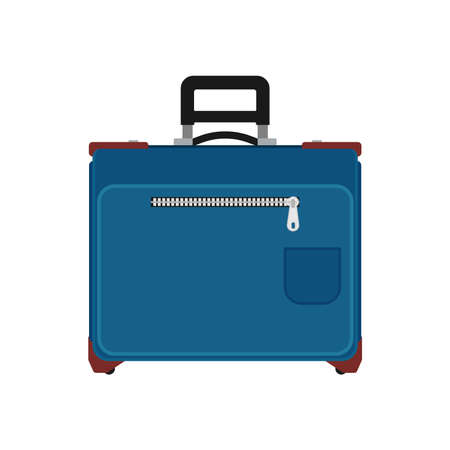Suitcase travel front view vector icon. Baggage vacation bag isolated white. Journey handle blue trolley valise