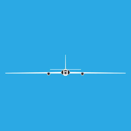 Spy plane front view vector icon. Drone aircraft aviation remote control. Fly RC jet equipment surveillance force