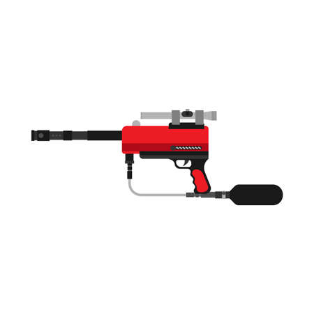 Paintball gun vector icon extreme sport equipment. Game battle fun weapon marker isolated. Leisure ammunition rifle Çizim