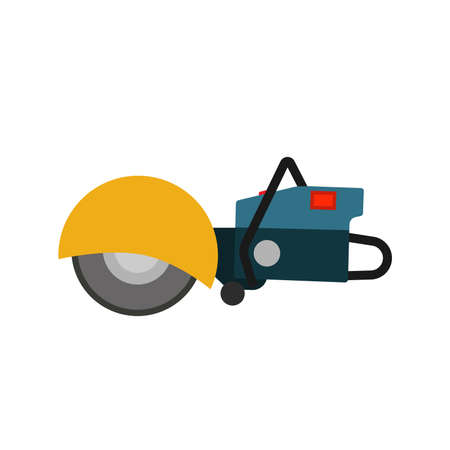 Power saw tool construction vector icon. Circular electric blade equipment machine cutter. Industry disk angle grinder