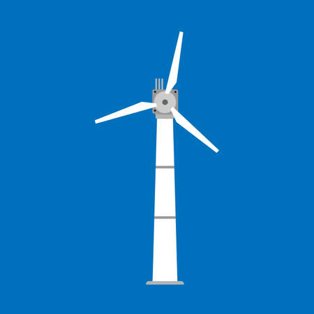 Wind turbine power windmill energy vector icon. Environment technology industry alternative eco generator tower