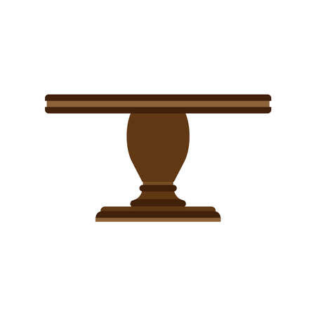 Table side view vector icon furniture isolated interior. Business empty element desk wooden advertise. Cartoon decor room Çizim