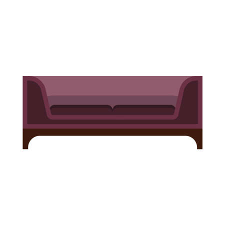 Sofa furniture vector icon front view illustration design. Living room interior seat element. Flat divan house cozy Çizim