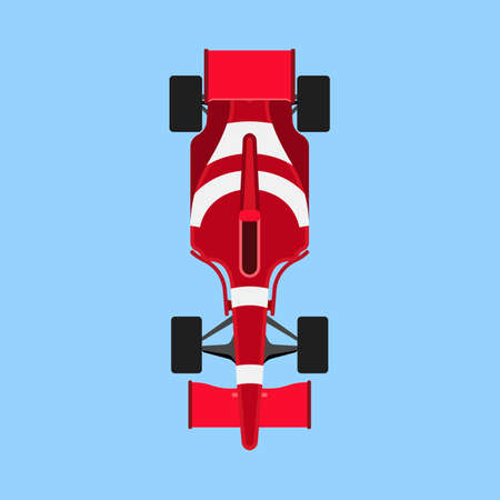 race car sport vector icon top view. Speed auto f1 champion red vehicle. Bolide rally prix flat game transport Illustration