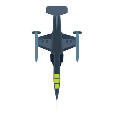 Interceptor aircraft military illustration aviation top view vector icon. Jet fighter navy plane attack. Warfare speed vehicle Illustration