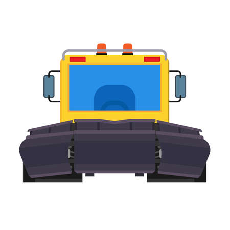 Snow plow tractor front view vector icon equipment machine. Removal winter vehicle loader. Clean road truck with scoop
