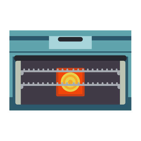 Oven vector illustration appliance cooking kitchen. Icon stove equipment domestic food. Kitchenware chef power machine Stock Vector - 132593171