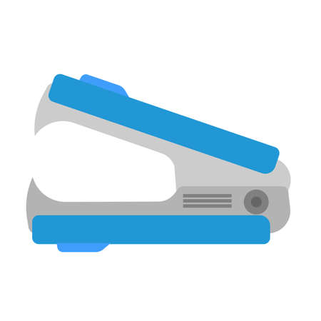 Staple remover vector isolated icon flat. Office blue business stapler paper. Stationary equipment supply desktop
