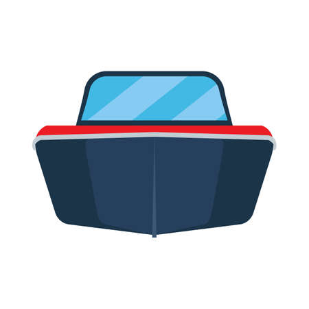 Motor boat front view vector flat icon illustration. Isolated cruise sea ship travel. Marine power vessel water cartoon