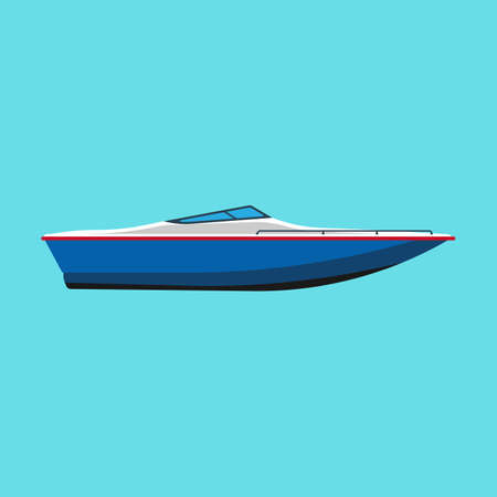 Speedboat side view vector flat icon. Motor cruise marine isolated ship yacht. Blue travel sport vessel journey summer