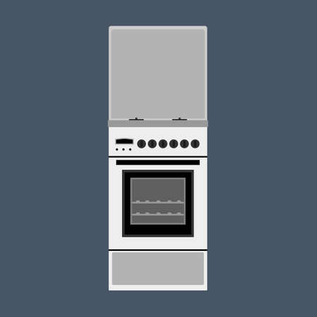 Oven vector illustration appliance cooking kitchen. Icon stove equipment domestic food. Kitchenware chef power machine
