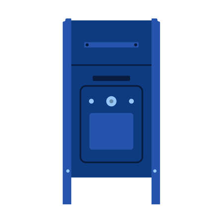 Mail box front view blue letter post vector icon. Delivery symbol message postage address. Business service cartoon shipment