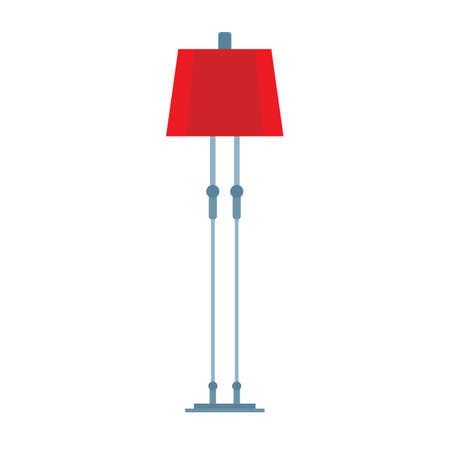 Floor lamp vector icon furniture design interior. Living room light bulb cartoon. Tall flat furnishing equipment stand appliance