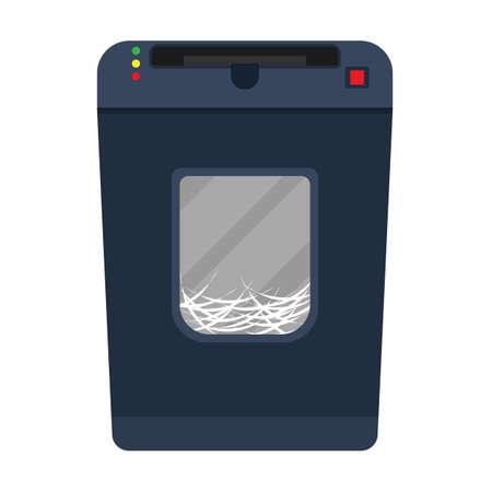 Shredder paper machine vector flat document destroy. Confidential business office secret. Paperwork  garbage equipment file Stock Illustratie