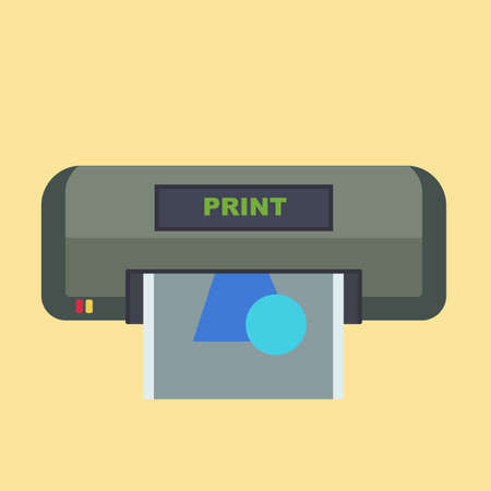 Printer office machine vector icon device design. Graphic digital ink job business pictogram simple flat electronic Illustration