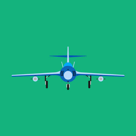 Fighter aircraft vector icon military plane front view. Supersonic assault jet war force transport. Cockpit cartoon bomber Illustration