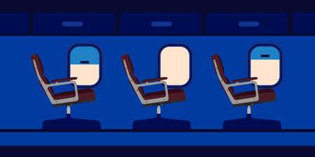 Plane cabin passenger seat illustration vector. Blue travel aircraft cartoon interior jet with window. Flat chair inside economy class salon aisle. Airplane journey tour.