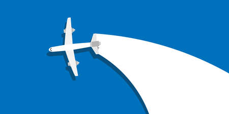 Creative plane vector business concept illustration design. Flight travel aircraft background freedom flat. Blue sky cartoon launch company
