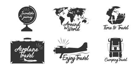 Travel lettering label vector adventure design. Vacation tourism emblem calligraphy badge. Cruise vintage tour airplane black silhouette trip