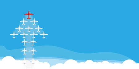 Airplane in form arrow illustration background vector concept creative. Cloud plane blue business teamwork direction red leader. Leadership follow vision idea