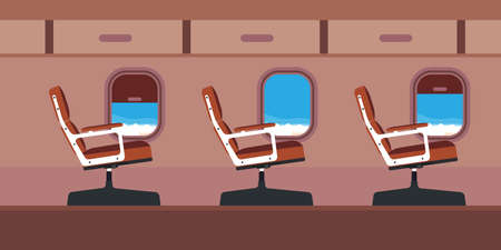 Plane cabin passenger seat illustration vector. Blue travel aircraft cartoon interior jet with window. Flat chair inside economy class salon aisle. Airplane journey tour.