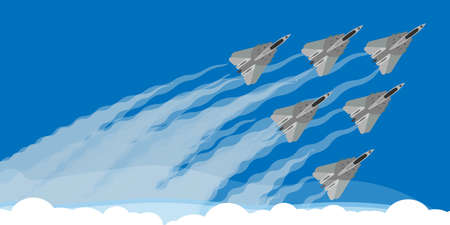 Military fighter jet with sky smoke trail background illustration vector. Air show plane fly acrobatic performance. Speed army team demonstration skill force design Illusztráció