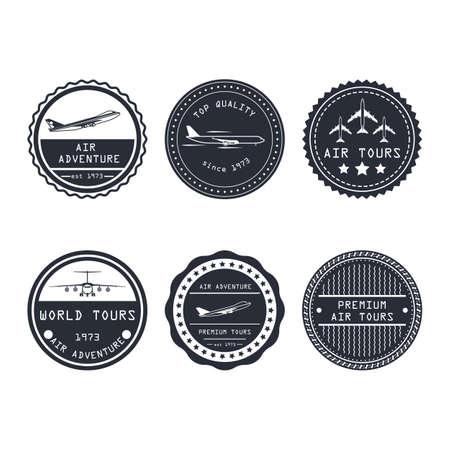 Air tour vector badge aircraft travel business design. Tourism journey symbol trip label. Vacation emblem aviation airline adventure sticker. Set simple logo