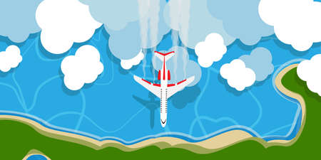 Plane above sky cloud vector illustration background concept. Travel cartoon flying jet top view. Outdoor holiday adventure vacation