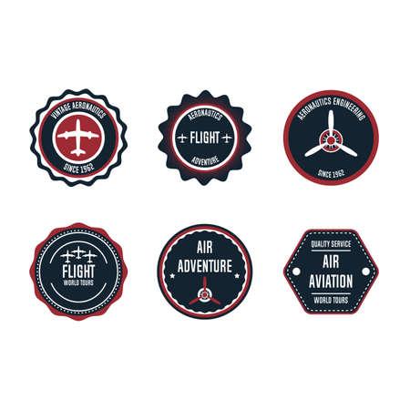 Aeronautic badge vector design set element. Flight emblem retro vintage symbol label. Airplane adventure business sticker. Round aviation quality stamp