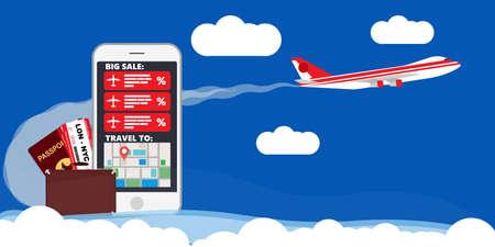 Find best deals cheap flight online travel plane vector illustration. Business booking service trip vacation reservation. World map airline banner agency adventure tour