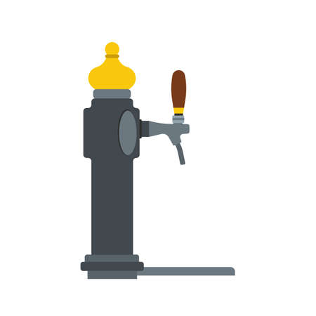 Beer tap vector flat icon alcohol brewery drink. Pub craft equipment barrel. Valve tavern handle machine. Mug draft beverage