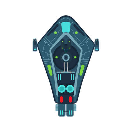 Space ship top view vector icon rocket technology shuttle. Cartoon future UFO galaxy cosmos. Fantasy alien orbit booster