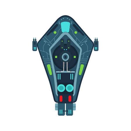 Space ship top view vector icon rocket technology shuttle. Cartoon future UFO galaxy cosmos. Fantasy alien orbit booster
