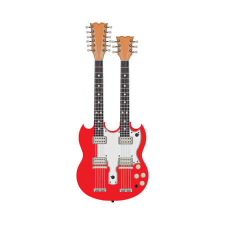 Double red electric guitar vector illustration rock instrument. Two flat design equipment bass. Isolated jazz song icon. Vintage body symbol metal concert entertainment Illustration