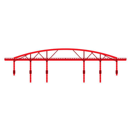 Red bridge vector icon illustration architecture side view isolated. Building city road arch river. Suspension urban crossing structure highway
